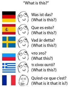 Funny Observations on Language that are Frustratingly Interesting - The internet has generated a huge amount of laughs from cats and FAILS. And we all out of cats. Learn German, Learn French, Blue Diamond Steven Universe, French Meme, Learning French For Kids, Greek Memes, Stupid Memes, Funny Moments, Funny Memes