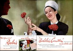 A sophisticatedly beautiful ad for Revlon's Bachelor's Carnation line of cosmetics from the mid-1940s.