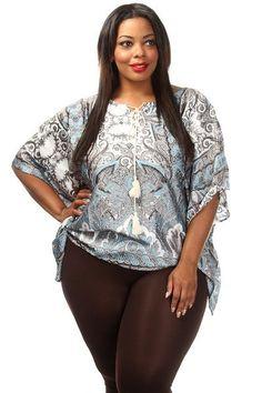 Plus Size Paisley Print Kimono Blouse - PinkClubwear - 1