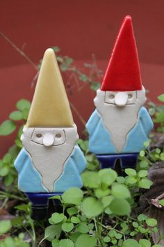 Handmade Pottery Gnome Garden Stake, Magnet or Ornament - 2-3 weeks for delivery