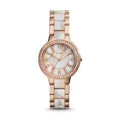 Fossil Virginia Three-Hand Stainless Steel Watch – Rose with Horn Acetate