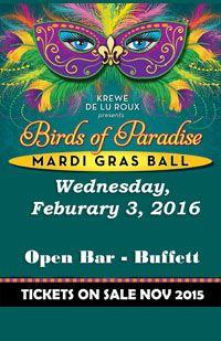 LuLu's 4th Annual Birds of Paradise Mardi Gras Ball February 3, 2016