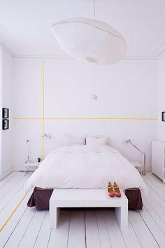 Washi Tape Walls - yellow lines