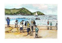Ilustración acuarela día de playa en San Sebastián /