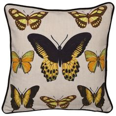 George Home Yellow Butterfly Cushion | Bedroom Furnishings | ASDA direct