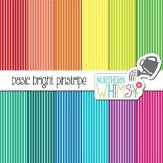 Stripe Digital Paper – bright pinstripe scrapbook paper in red, yellow, green, blue, & purple - rainbow printable paper - commercial use