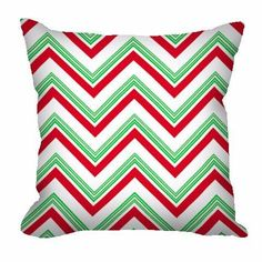 Christmas Chevron Throw Pillow in red and green