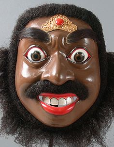 Patih Demung mask  Bali, Indonesia  8 inches, painted wood, hair, mother-of-pearl, jewelry  Made by Ida Made Hartawan, master carver.