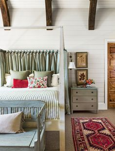 a Cabin Where Time Stands Still -Inside a Cabin Where Time Stands Still - Black and White Stripes Fabric in Black and White Material King Tavern Bed Plough and hearth Ticking Stripe Duvet Cover + Shams Cozy Bedroom, Master Bedroom, Cottage Bedrooms, Country Bedrooms, Farmhouse Bedrooms, Bedroom Red, Bedroom Ideas, Rustic Lake Houses, Relax