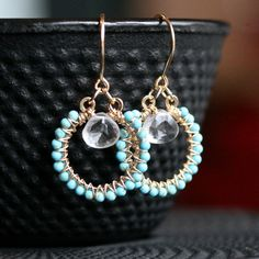Handmade turquoise hoops dangle hoops wire by MimiMicheleJewelry, $46.50