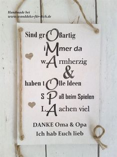 Danke Oma & Opa (Midi) Shabby chic, vintage style signs for all occasions, personalized gift ideas t Happy Birthday Images, Birthday Messages, Funny Birthday Cards, Birthday Greeting Cards, Birthday Quotes, Birthday Greetings, Greeting Cards Handmade, Birthday Ideas, Pun Quotes