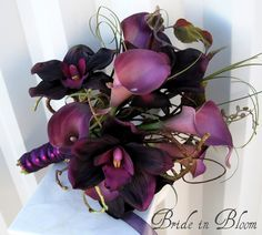 """Anelegant presentationwedding bouquet of purpleplum calla lilies& darkplum orchids. Real touch callas lilies are soft to touch and look so real, you are sure to love them. There are 6 plum callas & 4 plum orchids in this bouquet, added bear grass and curly willow to make this a classy presentation one sided bouquet. Handle treatment is wrapped with satin & shear ribbon with twist shear ribbon overlay finished with fuchsia pearl pins. Bouquet measures 10"""" ( 25 cm ) wide x 14"""" ( 36 cm ) t..."""