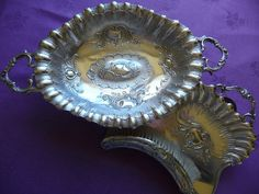 ANTIQUE FRENCH SILVER PLATE CRUMB TRAY/BRUSH AND BREAD/FRUIT DISH TABLE SILVER