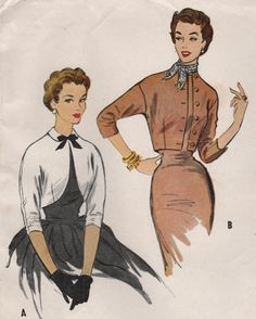 1950s McCall's 9723 Vintage Sewing Pattern Misses Cropped Jacket, Bolero Size 12 Bust 30