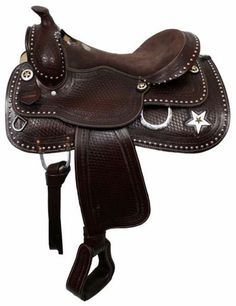 "Double T Tooled 16"" Pleasure Saddle With Texas Star 