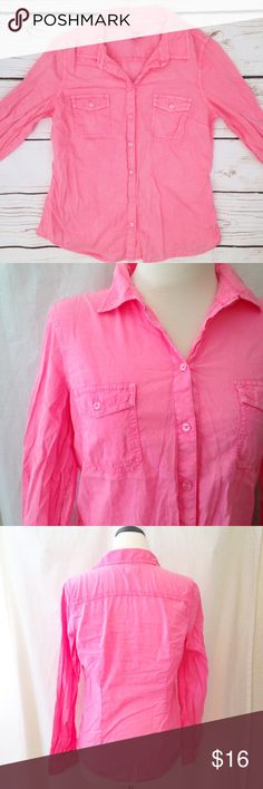 """Old Navy Neon Pink Button Up Long sleeve button up top in neon pink. Color is truest in last photo :) By Old Navy. Size M. 100% cotton. Chest measures 38"""". Length 25.5"""". Sleeve 23.5"""". Good pre-owned condition with no holes, rips, or stains.  KWs: weekend warrior, layering, total trendsetter, casual, girly girl, back to school, pastel, indie, blogger, trendy Old Navy Tops Button Down Shirts"""