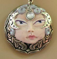 Silver Moon Goddess Pendant Necklace