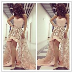 High Low Prom Dress,Sweetheart Prom Dress,Lace Prom Dress,2016 Prom Dress With Appliques,Sleeveless Prom Dress,PD0071