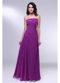 Strapless Floor Length A Line Long Purple Prom Dress 2013