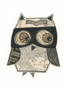 Henry++5x7+collage+owl++LIL+ART+CARD+by+29blackstreet+on+Etsy,+$14.00