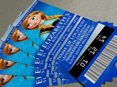 "Disney's Frozen Birthday Party/Event Ticket Invitation (2.5"" x 7"") - 2 Designs included!"