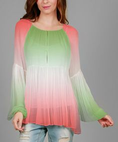 Loving this Coral & Green Sheer Ombré Tunic on #zulily! #zulilyfinds