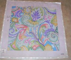 Hand Painted Needlepoint Canvas, Swirls Of Color  #Unbranded