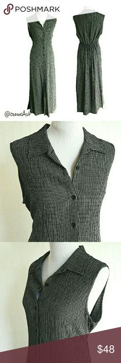 Gorgeous Charcoal Gray Gingham Maxi, NWT Absolutely beautiful year round Maxi dress, collared with button down front, elastic & tie waist, gorgeous quality Gingham fabric,  sleeveless.  Rayon/Linen blend  Size 16.  NWT by Jones New York Jones New York Dresses Maxi
