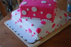 Pink and White Polka Dot, (Purple, and Blue Available) White or Chocolate, Square or Please Notate Color Upon Ordering Wedding Shower Cakes, Pie Cake, Specialty Cakes, Amazing Cakes, Fall Wedding, Cake Decorating, Wedding Stuff, Wedding Ideas, Cupcakes