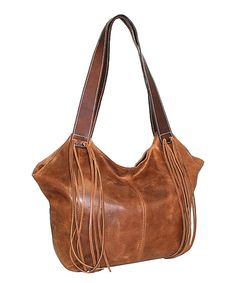 Look at this Saddle Fringe Element Leather Tote on #zulily today!