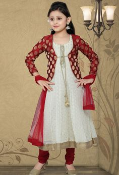 Readymade #Cream And #Maroon Georgette #Anarkali