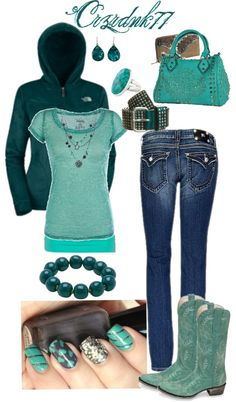"""Teal and Aqua"" by crzrdnk77 on Polyvore"