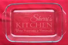 Personalized 3 Qt Casserole Dishes, Etched Glass Casserole, Special Gift, Church Socials, Engraved Bakeware, Pyrex, Never Loose Your Dish