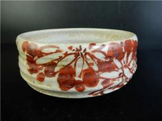 H2824: Japanese Old Kiyomizu-ware Red painting Flower Poetry pattern TEA BOWL  Color: 	 Gray 	Age: 	1900-1940