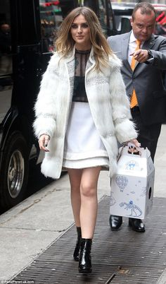 Leggy look: Little Mix Singer Perrie Edwards was dressed to impress as she arrived at the ABC studios on Thursday ahead of appearing on Good Morning America