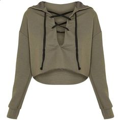 Saige Khaki Lace Up Cropped Hoodie found on Polyvore featuring polyvore, womens fashion, clothing, tops, hoodies, shirts, crop top, cropped hooded sweatshirt, khaki shirt and brown hooded sweatshirt