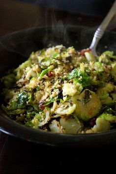 Warm Brussels Sprout and Couscous Salad - good. It's a single portion size so I adjusted.