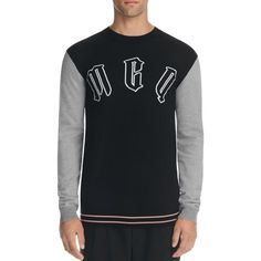McQ Alexander McQueen Carpet Logo Sweater ($350) ❤ liked on Polyvore featuring men's fashion, men's clothing, men's sweaters, darkest black, mens woolen sweaters, mens elbow patch sweater and mens wool sweaters