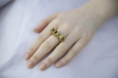 Cyclical Industry LOVE Brass Ring | Brooklyn, NYC | cyclicalind.com Brooklyn Nyc, Geometric Shapes, Compliments, Personal Style, Delicate, Brass, Unique, Rings, Handmade