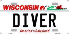 Diver Wisconsin Background Novelty Metal License Plate