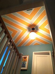 Painted ceiling by Steve Haskamp. wonderful idea for a stairway / hallway ceiling!