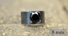 Black Spinel Ring with a Wide Silver Band by AbishJewelryWorks