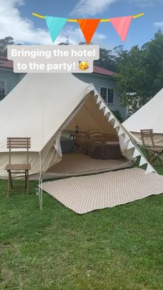 Hire our fully furnished bell tents at the location of your choice! Servicing the NSW upper north coast from Taree to Byron Bay Bell Tent Camping, Best Tents For Camping, Backyard Camping, Cool Tents, Camping Glamping, Camping Lights, Birthday Sleepover Ideas, Sleepover Room, Best Family Tent