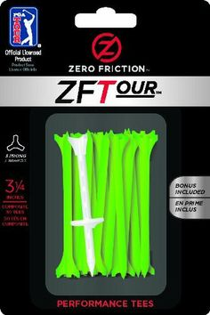 Zero Friction Tour 3-Prong Golf Tees (3-1/4 Inch, Citrus Green, Pack of 30) by Zero Friction. $3.49. The Zero Friction Original 3-Prong Golf Tee has LESS RESISTANCE, which means MORE DISTANCE on the course. Our unique designed tee has a 3-prong top that significantly reduces the contact area between the golf ball and the tee, providing maximum distance and accuracy. Zero Friction has established itself as the No. 1 Performance Golf Tee on the PGA Tour with over 70 TOUR victo...