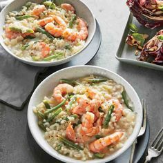 Lemon-Herb Risotto with Shrimp and Haricots Verts - Quick and Easy Fish and Shellfish Recipes for Dinner Tonight - Cooking Light Cooking Light Recipes, Cooking On A Budget, Fancy Dinner Recipes, Healthy Dinner Recipes, Dinner Ideas, Healthy Dinners, Healthy Eats, Shellfish Recipes, Seafood Recipes
