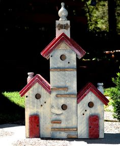 Birdhouse Handmade Large Bird House Yard Art Condo Unique Rustic Old World White…