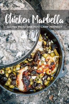 Dutch Oven Chicken Marbella You'll never believe how easy it is to make this gourmet camping meal! Dutch Oven Chicken Marbella is perfect for cooking over the campfire. Dutch Oven Chicken, Dutch Oven Cooking, Dutch Oven Recipes, Camping Meal Planning, Camping Meals, Camping Recipes, Camping Cooking, Camping Dishes, Outdoor Cooking