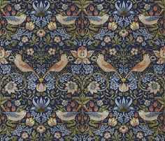 William Morris ~ Strawberry Thief ~ Original Blue  fabric by peacoquettedesigns on Spoonflower - custom fabric