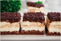 Ciasto kokos w czekoladzie - I Love Bake German Desserts, Polish Recipes, Tiramisu, Cheesecake, Food And Drink, Sweets, My Love, Ethnic Recipes, Cook