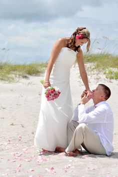 Romantic beach wedding photo. Florida beach wedding in Cocoa Beach, Florida.  www.RomanticFloridaBeachWeddings.com
